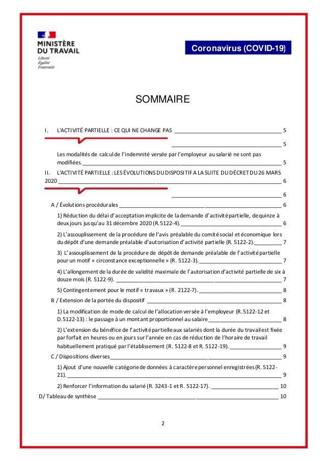 2 Coronavirus (COVID-19) SOMMAIRE I. L'ACTIVITÉ PARTIELLE : CE QUI NE CHANGE PAS ___________________________________ 5 ___...