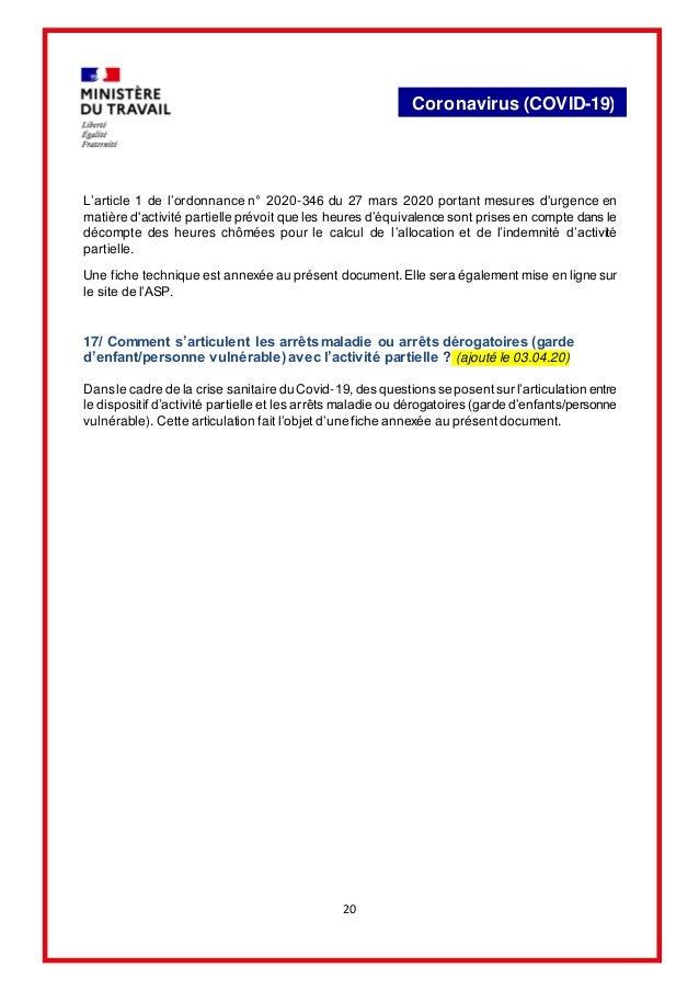 20 Coronavirus (COVID-19) L'article 1 de l'ordonnance n° 2020-346 du 27 mars 2020 portant mesures d'urgence en matière d'a...