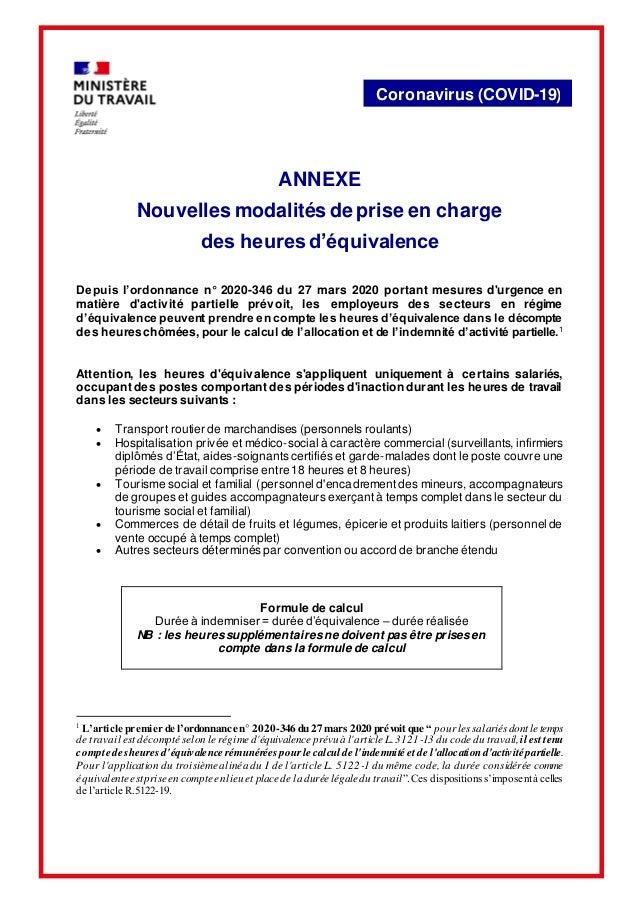 Coronavirus (COVID-19) ANNEXE Nouvelles modalités de prise en charge des heures d'équivalence Depuis l'ordonnance n° 2020-...