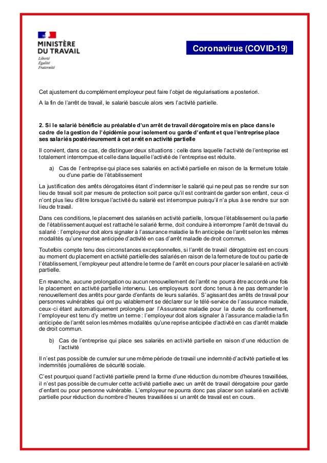 Coronavirus (COVID-19) Cet ajustement du complément employeur peut faire l'objet de régularisations a posteriori. A la fin...