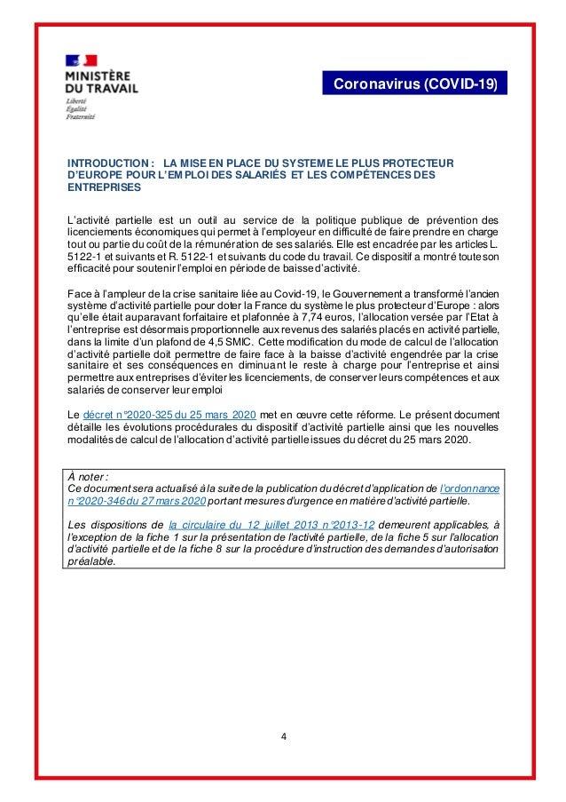 4 Coronavirus (COVID-19) INTRODUCTION : LA MISE EN PLACE DU SYSTEME LE PLUS PROTECTEUR D'EUROPE POUR L'EMPLOI DES SALARIÉS...