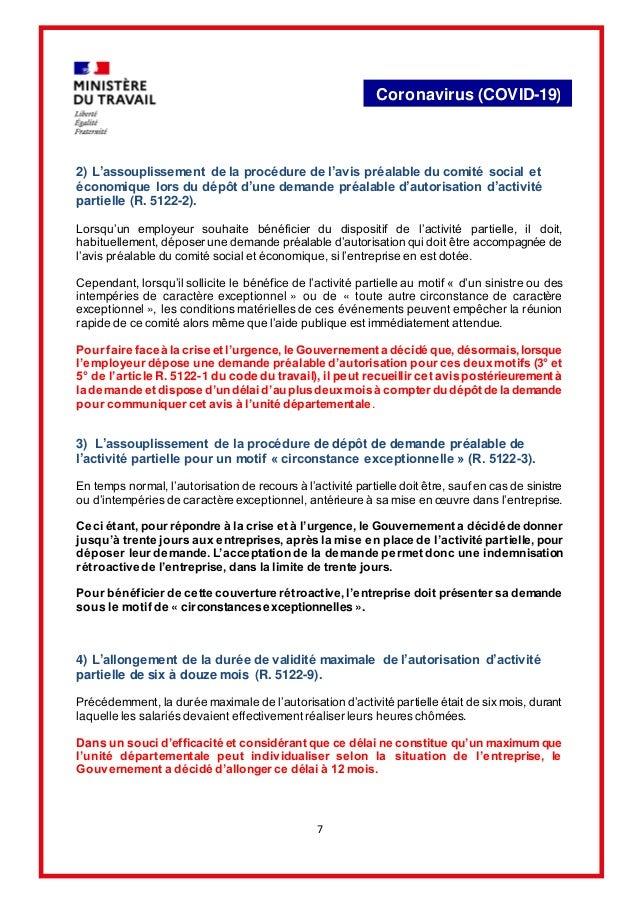 7 Coronavirus (COVID-19) 2) L'assouplissement de la procédure de l'avis préalable du comité social et économique lors du d...