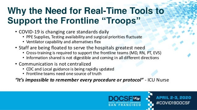 """Why the Need for Real-Time Tools to Support the Frontline """"Troops"""" • COVID-19 is changing care standards daily • PPE Suppl..."""