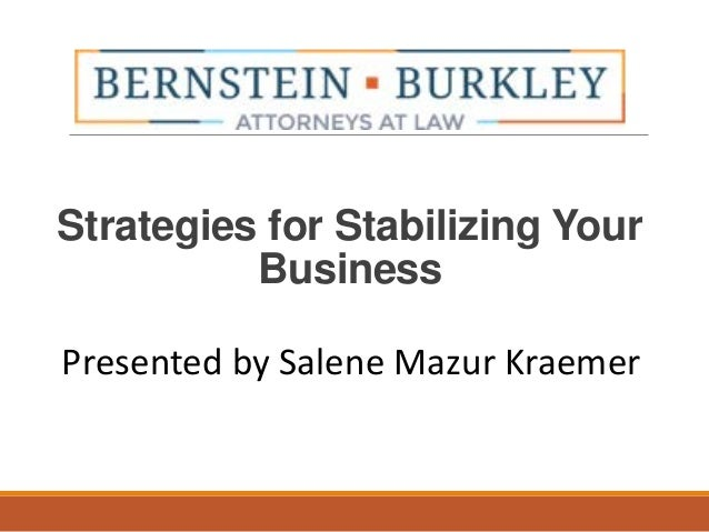 Strategies for Stabilizing Your Business Presented by Salene Mazur Kraemer