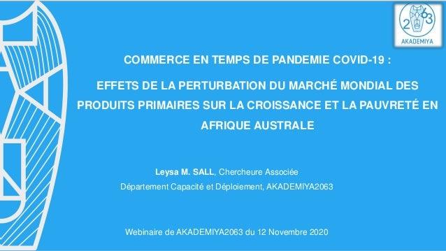COMMERCE EN TEMPS DE PANDEMIE COVID-19 : EFFETS DE LA PERTURBATION DU MARCHÉ MONDIAL DES PRODUITS PRIMAIRES SUR LA CROISSA...