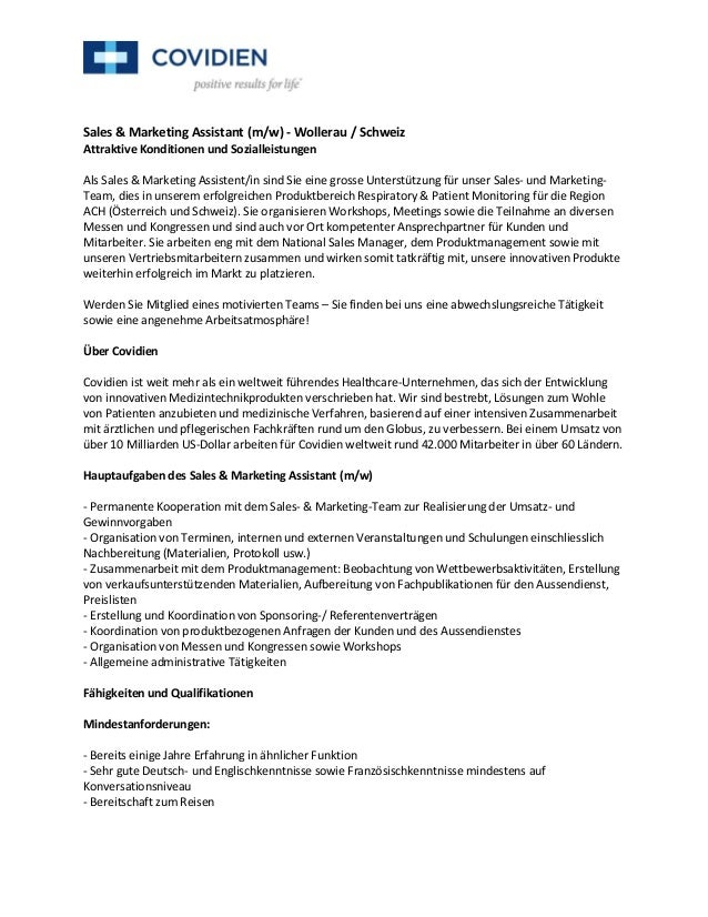 Sales & Marketing Assistant (m/w) - Wollerau / SchweizAttraktive Konditionen und SozialleistungenAls Sales & Marketing Ass...