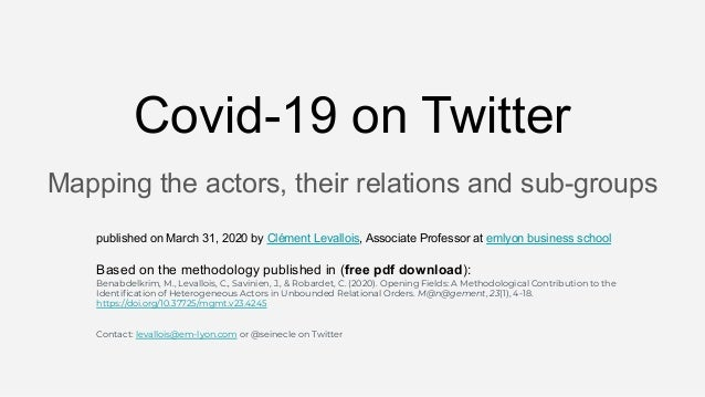 Mapping the actors, their relations and sub-groups Covid-19 on Twitter published on March 31, 2020 by Clément Levallois, A...