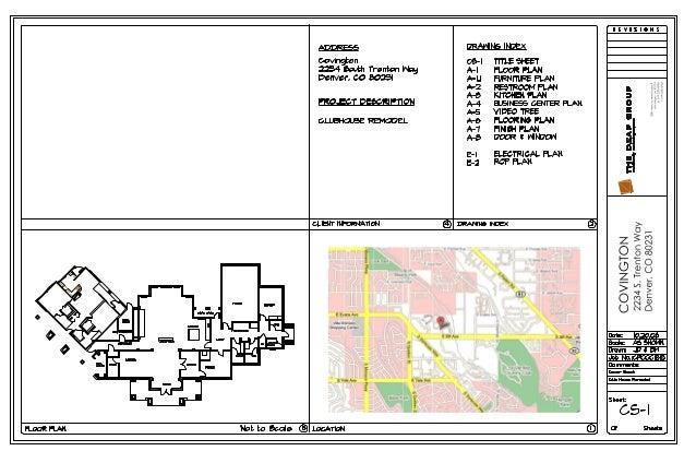 ADDRESS covlnglzon  2234 South Trenton l/ 'lag  Denver,  CO 6023i  PROJECT DE5CRl PTlON  CLUBHOUSE REMODEL  DRANN6 lNDE)< ...