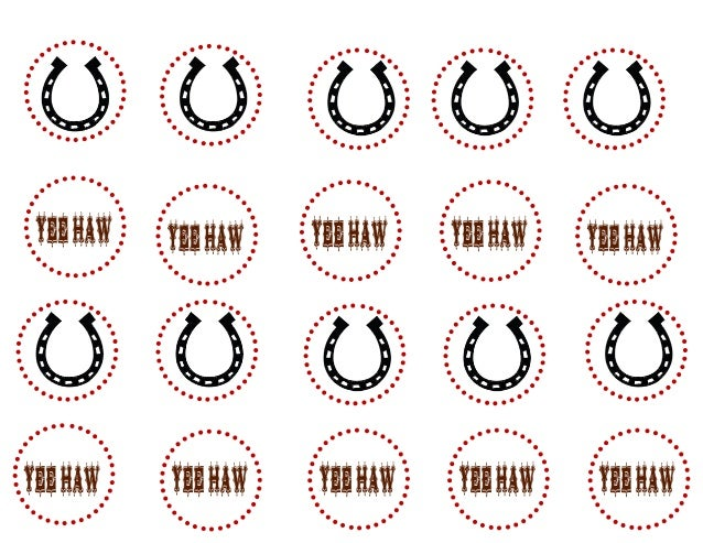 Cowboy Birthday Cupcake Toppers