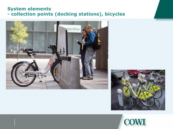 System elements  - collection points (docking stations), bicycles