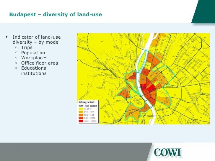 Budapest – diversity of land-use  <ul><ul><li>Indicator of land-use diversity – by mode </li></ul></ul><ul><ul><ul><li>Tri...