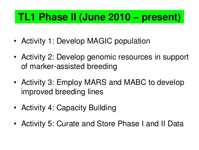 TL1 Phase II (June 2010 – present) • Activity 1: Develop MAGIC population • Activity 2: Develop genomic resources in suppo...