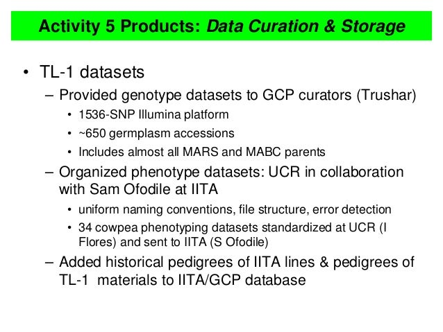 Activity 5 Products: Data Curation & Storage • TL-1 datasets – Provided genotype datasets to GCP curators (Trushar) • 1536...