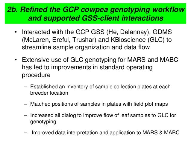 2b. Refined the GCP cowpea genotyping workflow and supported GSS-client interactions • Interacted with the GCP GSS (He, De...