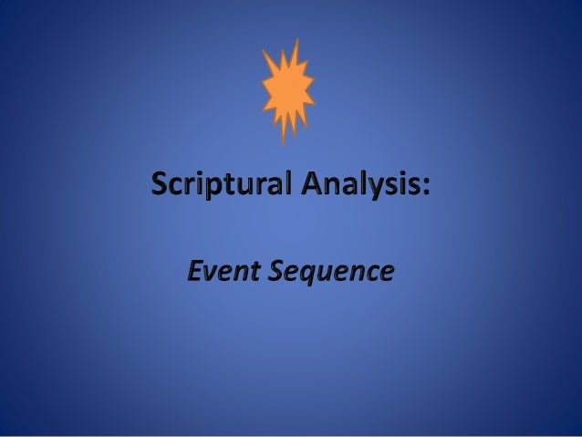 Event Sequence An event sequence is the identification and order of events in a chapter without the details. Each event bu...