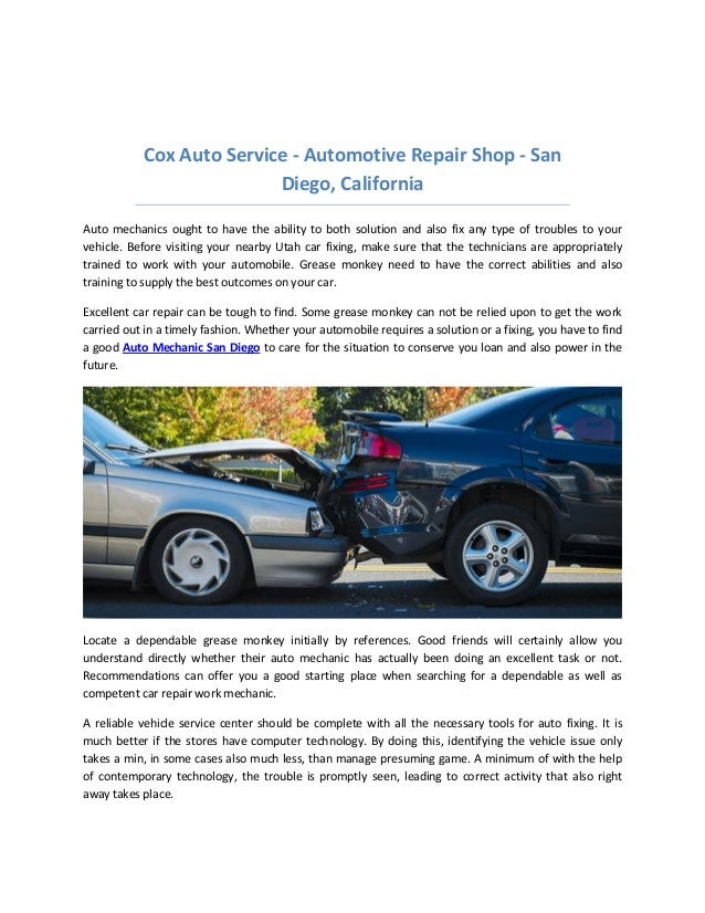 Brake Repair Shops >> Cox Auto Service San Diego Honest Auto Repair Shops Brake Service