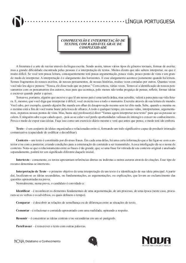 Didatismo e Conhecimento 1 LÍNGUA PORTUGUESA COMPREENSÃO E INTERPRETAÇÃO DE TEXTOS, COM RAZOÁVEL GRAU DE COMPLEXIDADE A li...