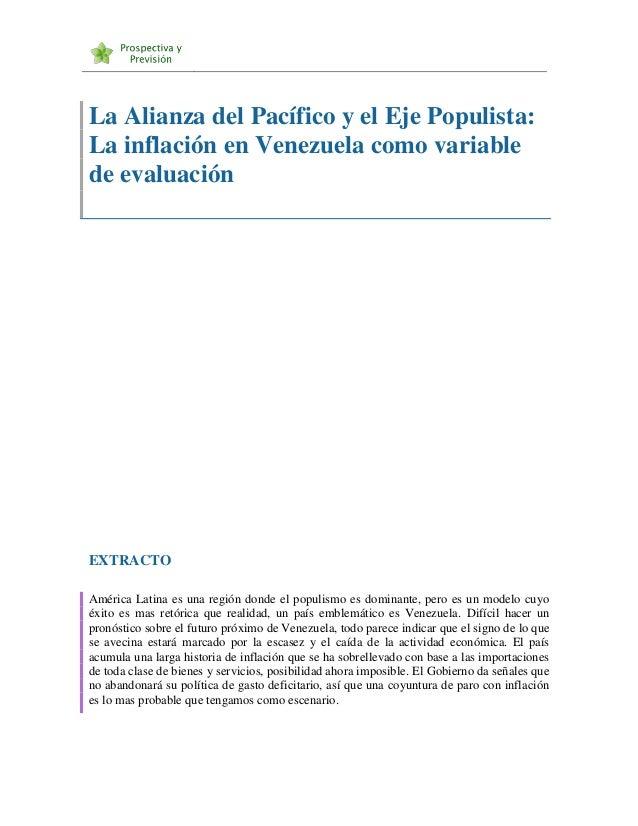 La Alianza del Pacífico y el Eje Populista: La inflación en Venezuela como variable de evaluación EXTRACTO América Latina ...