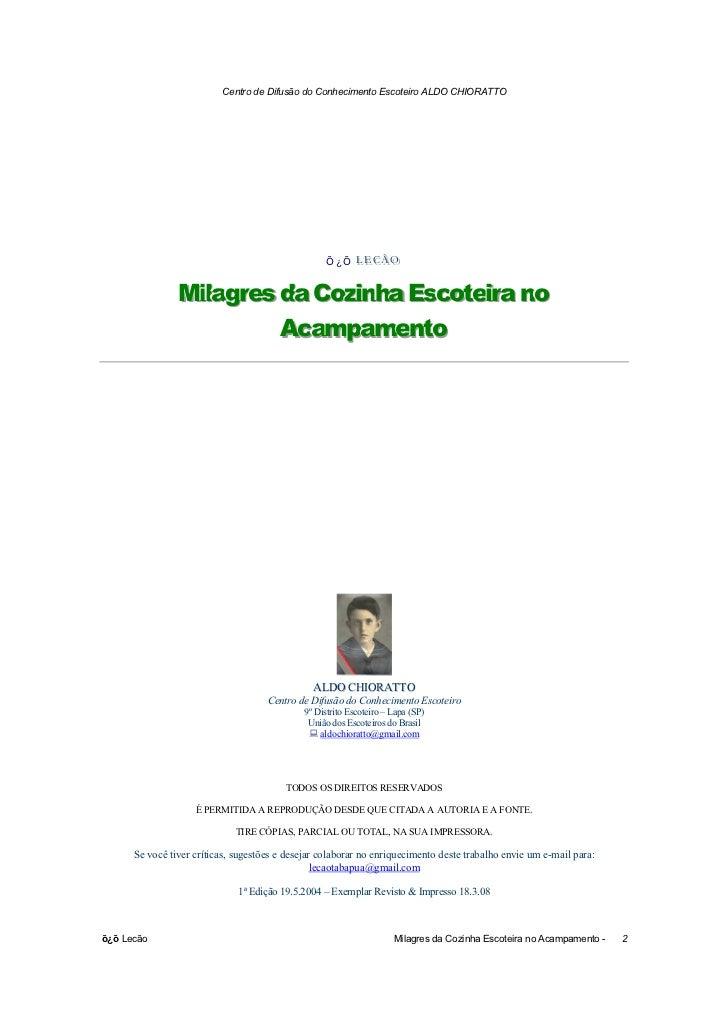 Centro de Difusão do Conhecimento Escoteiro ALDO CHIORATTO                                                   Õ¿Õ LECÃO    ...