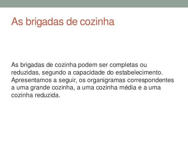 ORGANIGRAMA DE UMA COZINHA MÉDIA
