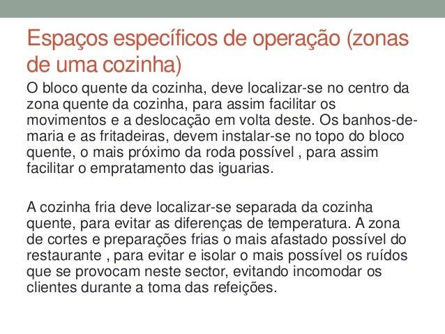 Espaços específicos de operação (zonas de uma cozinha) O bloco quente da cozinha, deve localizar-se no centro da zona quen...