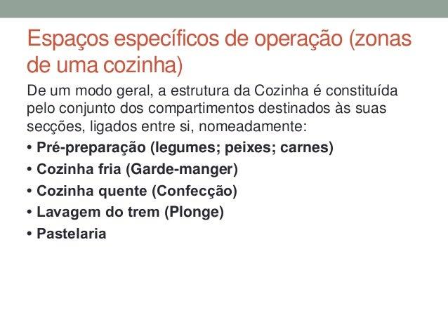 Espaços específicos de operação (zonas de uma cozinha) De um modo geral, a estrutura da Cozinha é constituída pelo conjunt...