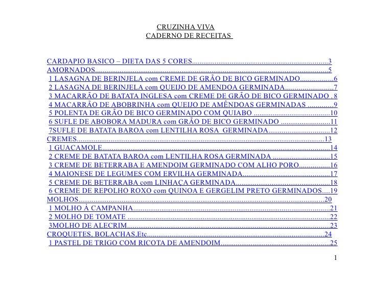 CRUZINHA VIVA                                                CADERNO DE RECEITAS   CARDAPIO BASICO – DIETA DAS 5 CORES.......