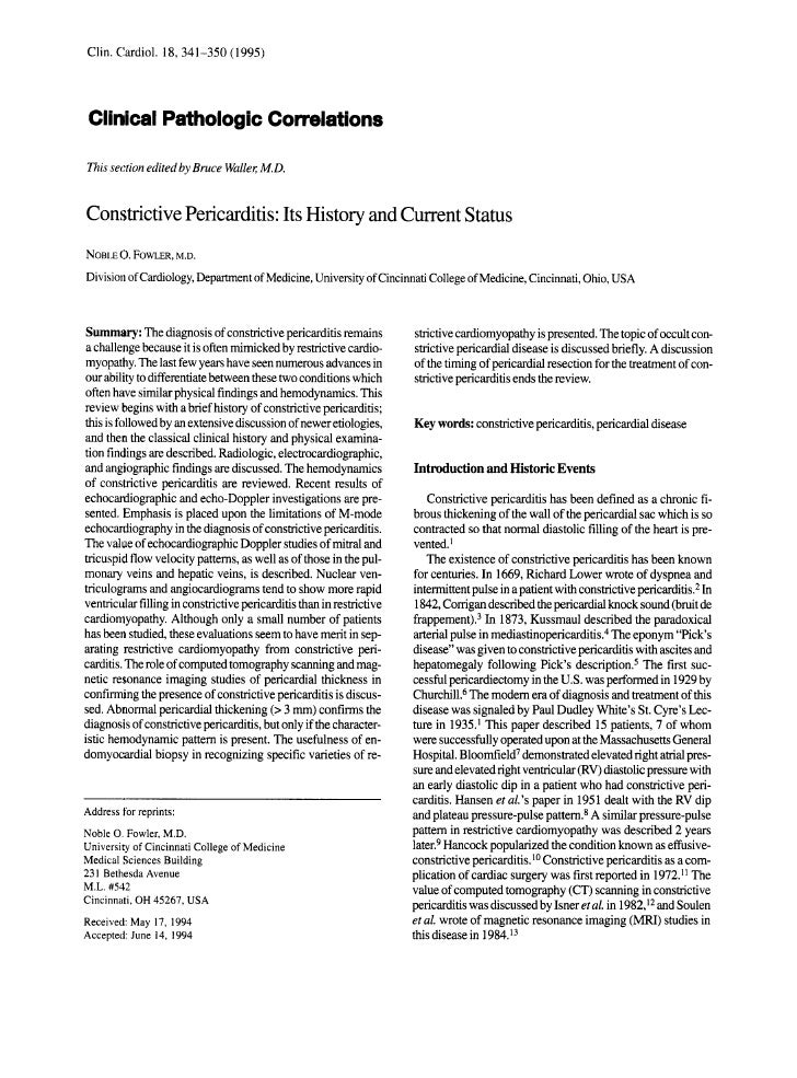 Clin. Clardiol. 18, 341-350 (1995)Clinical Pathologic CorrelationsThis section edited by Bruce Wallel;M.D.ConstrictivePeri...