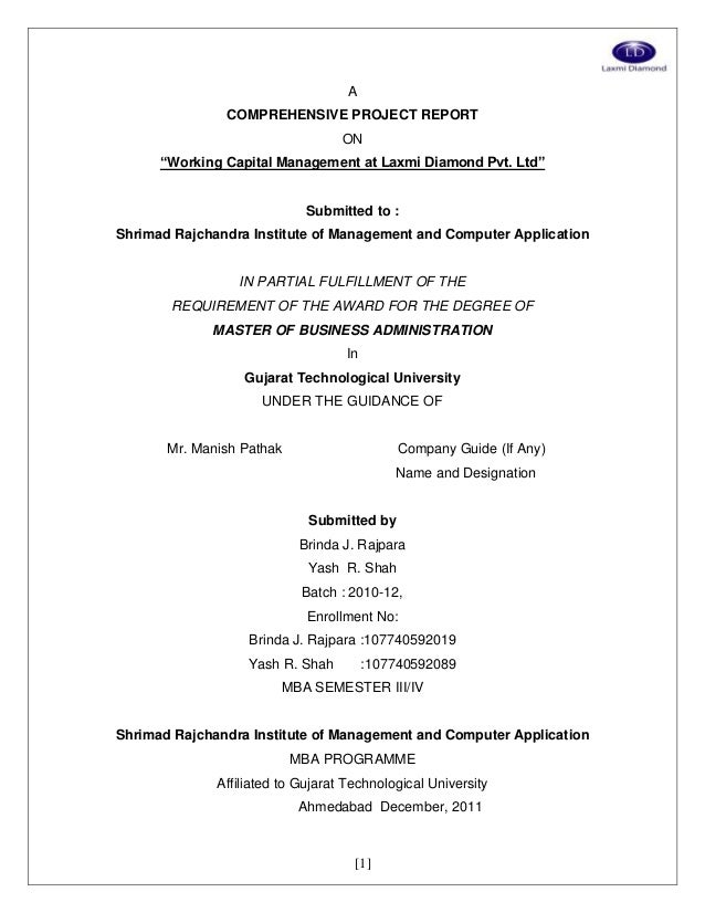 """[1] A COMPREHENSIVE PROJECT REPORT ON """"Working Capital Management at Laxmi Diamond Pvt. Ltd"""" Submitted to : Shrimad Rajcha..."""