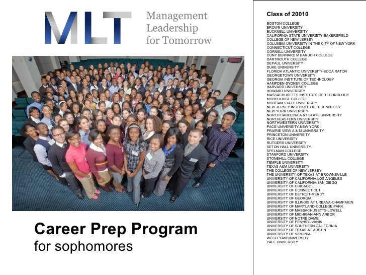 Career Prep Program for sophomores Class of 20010  BOSTON COLLEGE  BROWN UNIVERSITY  BUCKNELL UNIVERSITY  CALIFORNIA STATE...