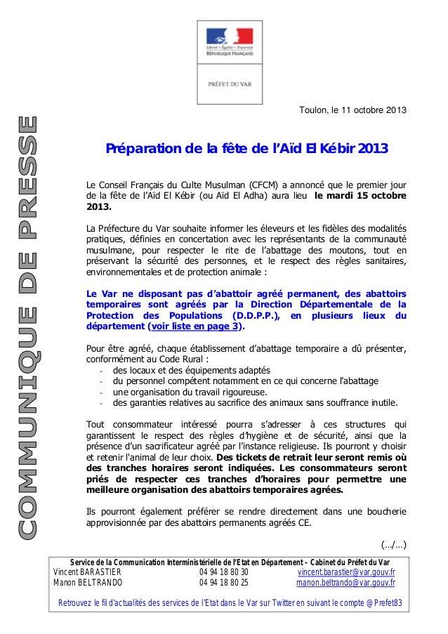 Service de la Communication Interministérielle de l'Etat en Département – Cabinet du Préfet du Var Vincent BARASTIER 04 94...
