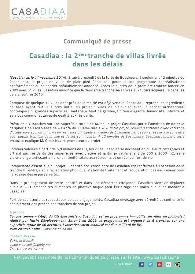 Casadiaa - Communiqué de presse