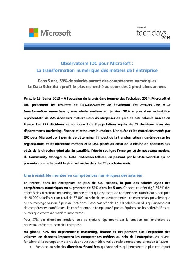 Observatoire IDC pour Microsoft :  La transformation numérique des métiers de l'entreprise  Dans 5 ans, 59% de salariés au...