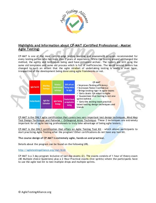 © AgileTestingAlliance.org Highlights and Information about CP-MAT (Certified Professional – Master Agile Testing) CP-MAT ...