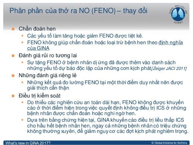 © Global Initiative for Asthma  Chẩn đoán hen  Các yếu tố làm tăng hoặc giảm FENO được liệt kê.  FENO không giúp chẩn đ...