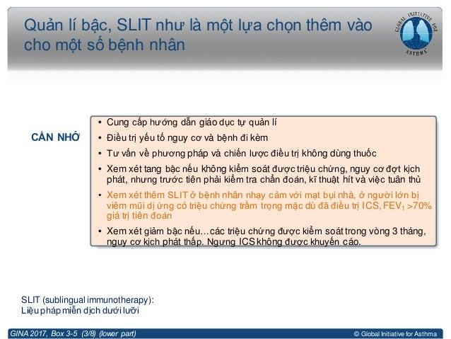 © Global Initiative for Asthma Quản lí bậc, SLIT như là một lựa chọn thêm vào cho một số bệnh nhân GINA 2017, Box 3-5 (3/8...