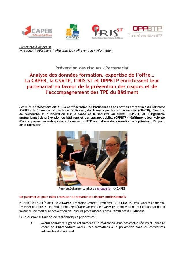 Communiqué de presse #Artisanat / #Bâtiment / #Partenariat / #Prévention / #Formation Prévention des risques - Partenariat...