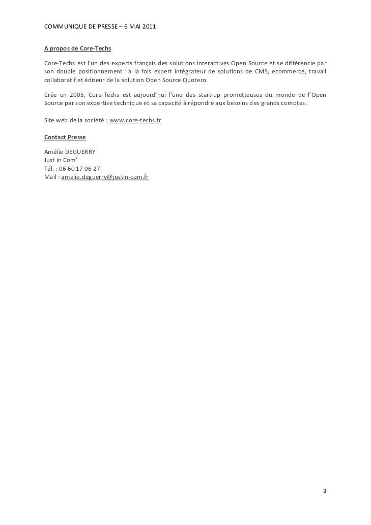 COMMUNIQUEDEPRESSE–6MAI2011AproposdeCore‐TechsCore‐Techsestl'undesexpertsfrançaisdessolutionsinteractiv...