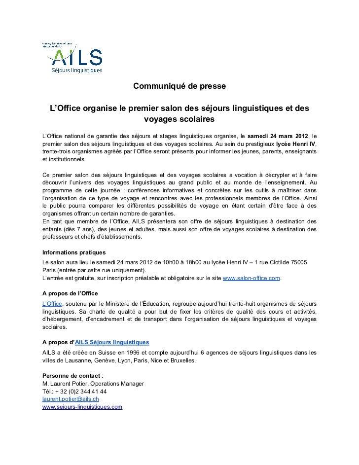 Ails s jours linguitiques cp salon office mars 2012 - Salon de l agriculture voyage organise ...