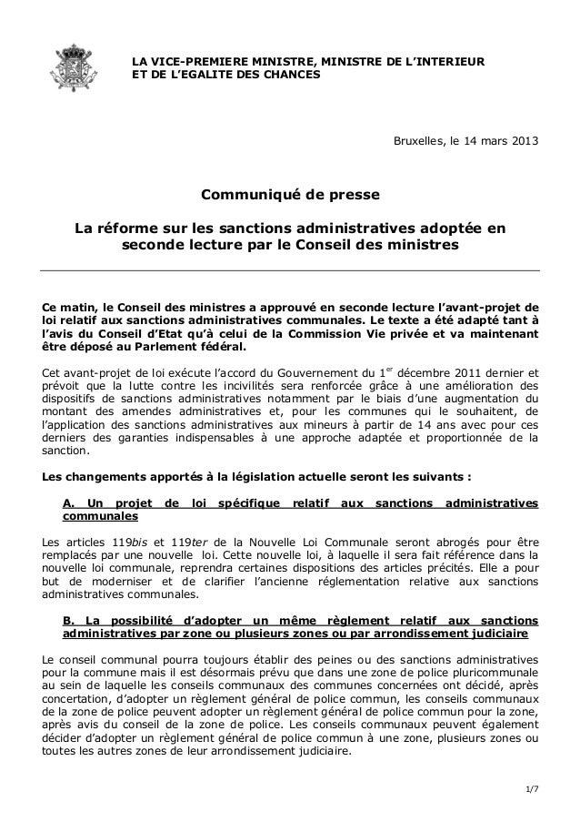 1/7LA VICE-PREMIERE MINISTRE, MINISTRE DE L'INTERIEURET DE L'EGALITE DES CHANCESBruxelles, le 14 mars 2013Communiqué de pr...