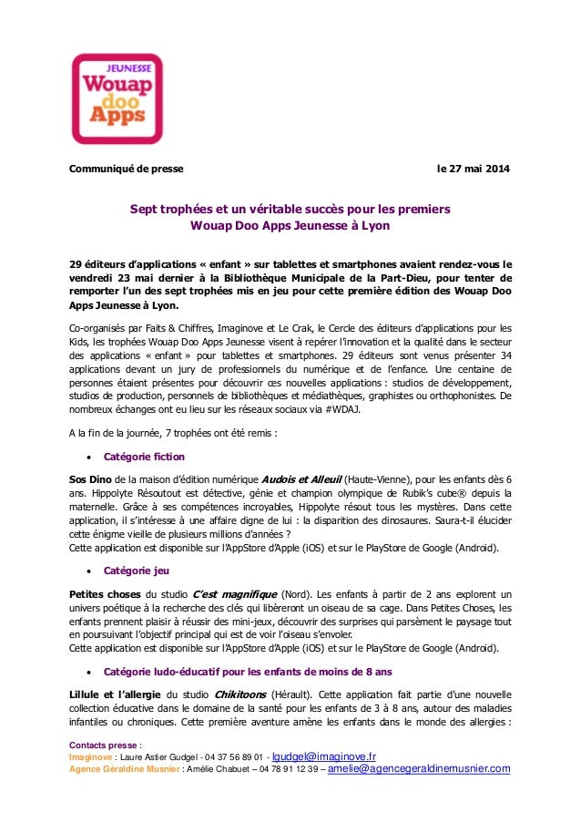 Contacts presse : Imaginove : Laure Astier Gudgel - 04 37 56 89 01 - lgudgel@imaginove.fr Agence Géraldine Musnier : Améli...