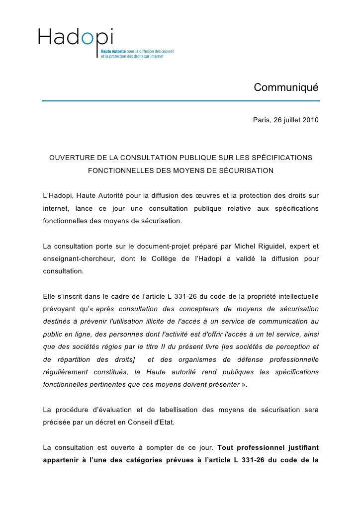 OUVERTURE DE LA CONSULTATION PUBLIQUE SUR LES SPÉCIFICATIONS FONCTIONNELLES DES MOYENS DE SÉCURISATION