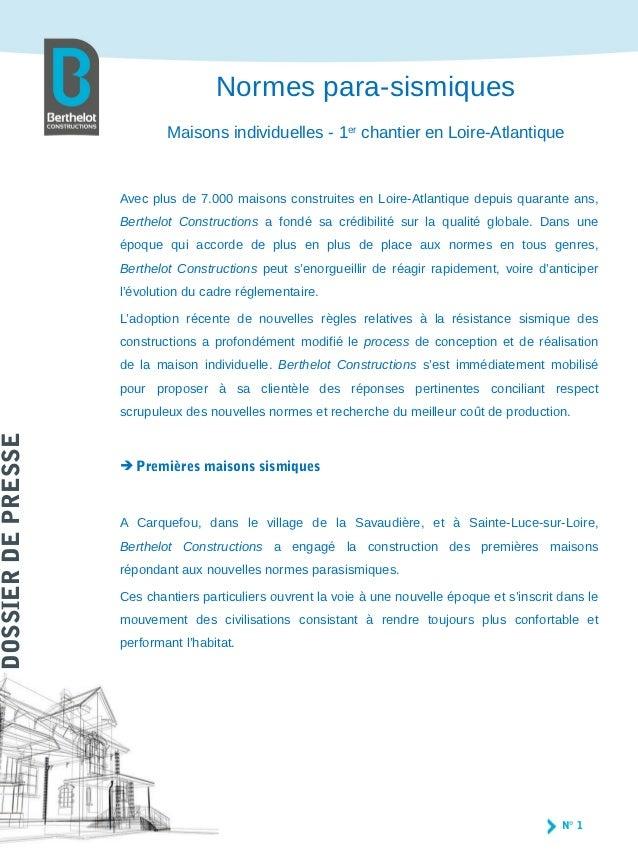 Normes para-sismiques                            Maisons individuelles - 1er chantier en Loire-Atlantique                 ...
