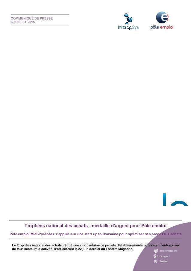 Retrouvez toute l'actualité de Pôle emploi sur : Trophées national des achats : médaille d'argent pour Pôle emploi Pôle em...