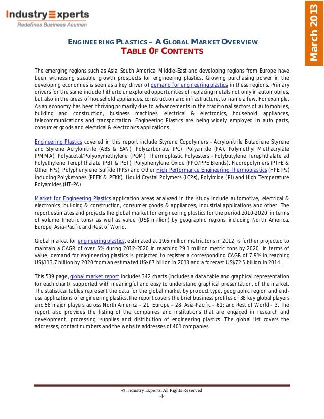 March 2013              ENGINEERING PLASTICS – A GLOBAL MARKET OVERVIEW                                     TABLE 0F CONTE...