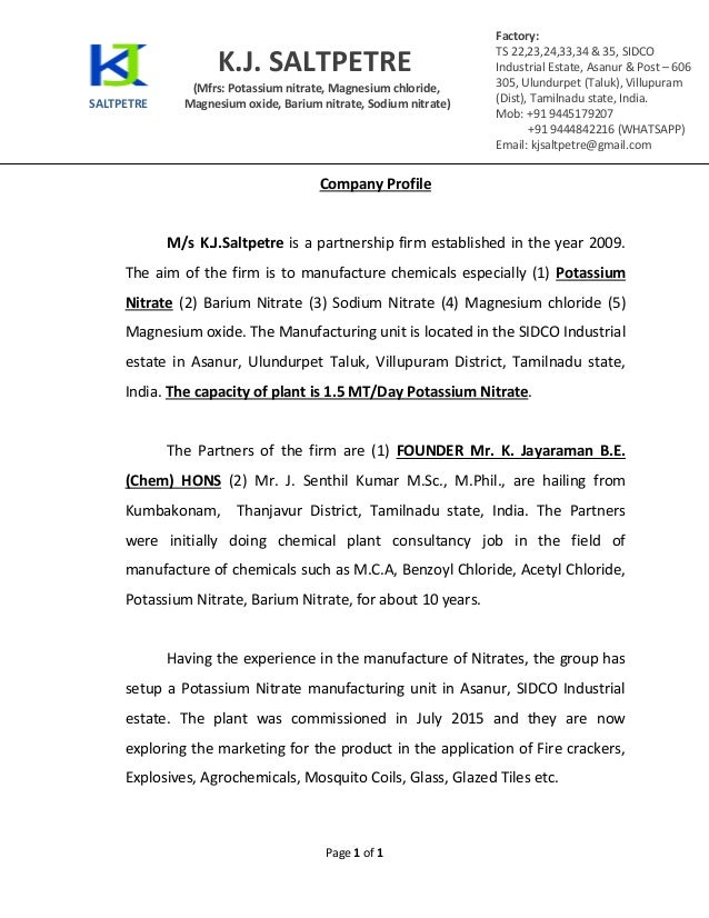 CALL FOR JOINT VENTURE / INVESTORS FOR OUR NEW POTASSIUM NITRATE MANU…