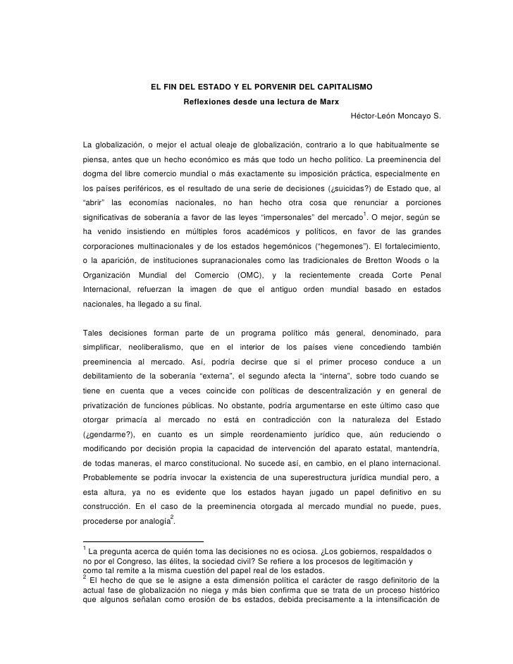 EL FIN DEL ESTADO Y EL PORVENIR DEL CAPITALISMO                               Reflexiones desde una lectura de Marx       ...