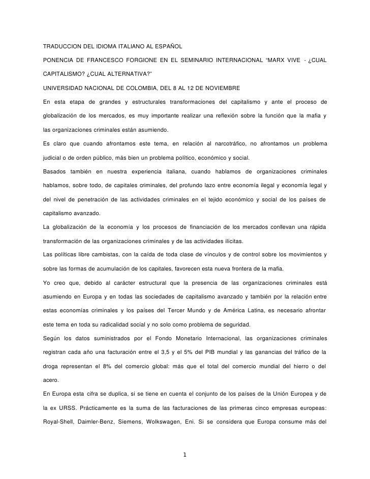 """TRADUCCION DEL IDIOMA ITALIANO AL ESPAÑOLPONENCIA DE FRANCESCO FORGIONE EN EL SEMINARIO INTERNACIONAL """"MARX VIVE - ¿CUALCA..."""