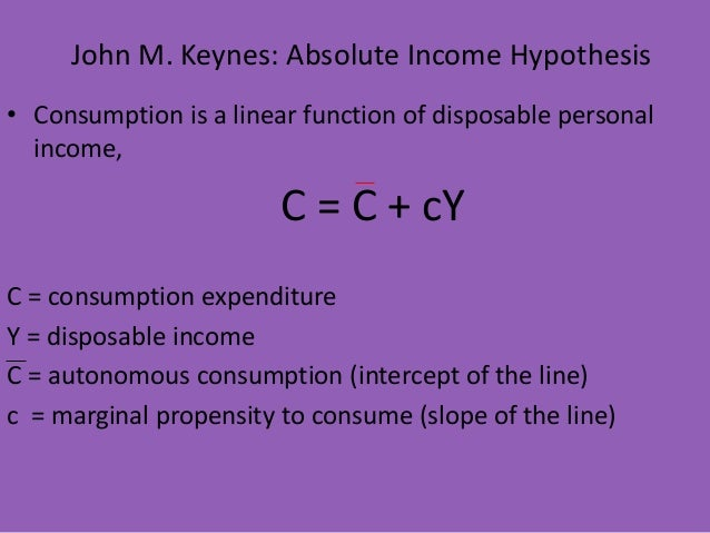 absolute income hypothesis As income increases from $1,000 to $10,000 to $1000,000, the average propensity to consume declines from 14 to 095 to 0905 the decline is fastest at low incomes and then slows as income grows.