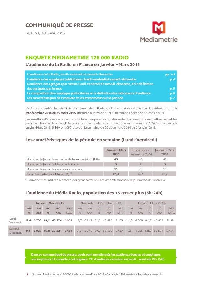 Source : Médiamétrie - 126 000 Radio - Janvier-Mars 2015 - Copyright Médiamétrie - Tous droits réservés COMMUNIQUÉ DE PRES...